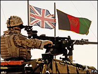 British soldier in front of a British flag and an Afghanistan flags