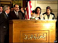 US Secretary of State Condoleezza Rice and Iraqi Prime Minister Nouri Maliki speak to the media in Baghdad on 5 October 2006.