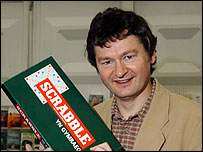 Alun Pugh with a Scrabble box