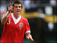 Gareth Bale celebrates his goal