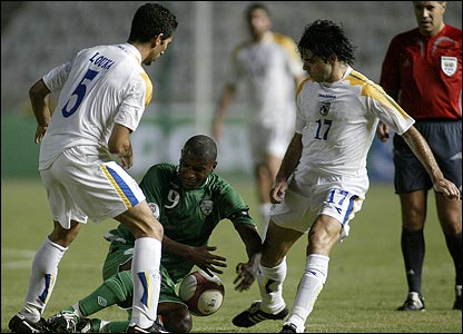 Loukas Louka and Marinos Siatsas of Cyprus and Clinton Morrison of the Republic of Ireland