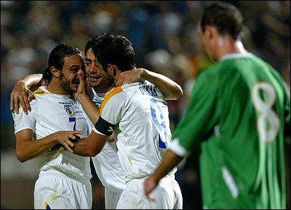 Cyprus celebrated a 5-2 win over the Republic of Ireland at the GSP Stadium in Nicosia