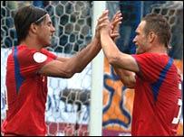 Milan Baros and David Jarolim celebrate for the Czechs
