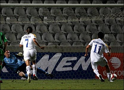 Michalis Konstantinou scores a penalty to put Cyprus 3-2 ahead