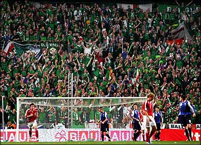 The Northern Ireland supporters in Copenhagen
