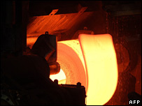 Steel being processed at Tata Steel plant