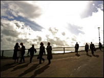 People walking on Bournemouth sea front