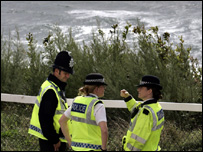 Police on the sea front
