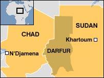 Map showing Darfur