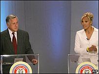 León Roldos y Cynthia Viteri.