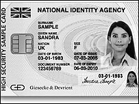 Sample UK identity card