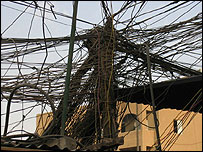 Tangle of electricity wires in Baghdad