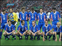 Croatia's team that won the third-place play-off against Holland at the 1998 world Cup in France