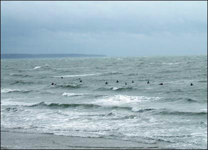 Mark Evans spotted this small group of hardy surfers at a windswept Coney Beach, Porthcawl