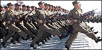 North Korean soldiers parading