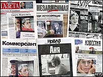 Portadas de los principales diarios rusos mostrando fotografías de Politkovskaya