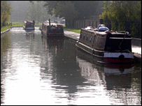 Narrowboats in canal