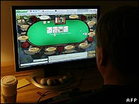 Man playing internet poker in the US