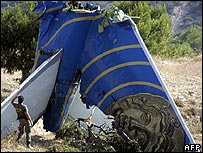 The wreckage of the Helios flight
