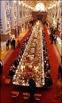 A state banquet at Windsor Castle