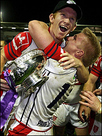 Hull KR's James Webster and Iain Morrison celebrate promotion
