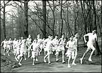 Tom (4th from right) taking part in cross country in his new English school
