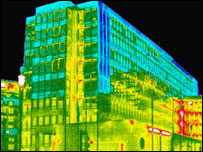 Thermal image of the DTI offices in central London (Image: IRT)