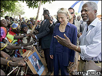 UN Secretary General Kofi Annan and his wife Nane in Ghana