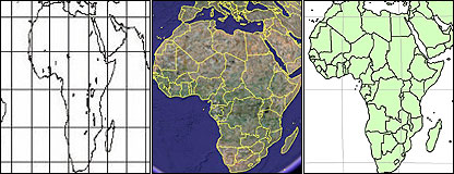 Africa maps in different projections - Gall-Peters, Google's and Winkel Tripel