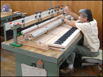 Old worker in Japanese piano factory