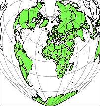 Bonne projection of the Earth