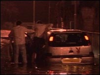 Flood-hit car