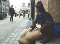A homeless man in London