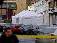 Police tents outside Universal Express travel agents after Pc Beshenivsky's shooting