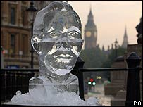 Ice sculpture of Tony Blair