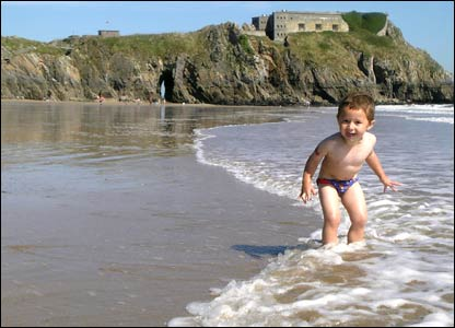 James Davies sent in this picture of son William Davies playing on Tenby's beautiful south beach