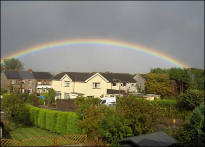 Andrew Mallett from Pontypridd sent this picture of a rainbow over Efail Isaf