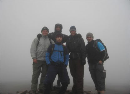 Iain Gilligan and friends on top of Pen Y Fan in the Brecon Beacons