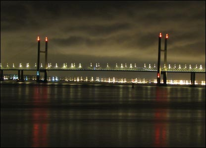 Second Severn Crossing at night (Terry Winter in Caldicot)