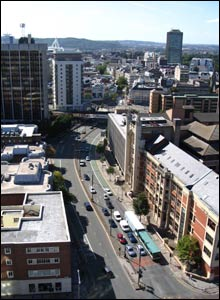 An aerial view of Newport Road as it enters Cardiff city centre, sent in by Peter Stevens of Magor