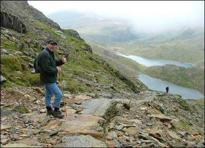 Suzanne Ball's husband Steve looking very relieved to be on the way down after reaching the top of Snowdon