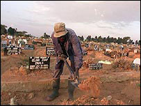 A graveyard for Aids victims in Zimbabwe