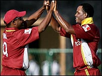 Lara and Samuels celebrate