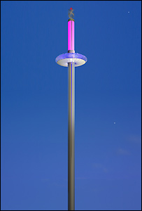 Image of the Brighton i360 pod at night