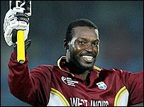 Chris Gayle overcame several sticky moments to launch some blistering shots