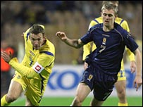 Andriy Shevchenko in action against Scotland