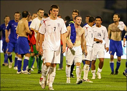 The England players trudge dejectedly off the field in Zagreb