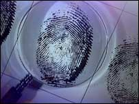 Magnifying glass and fingerprint, BBC