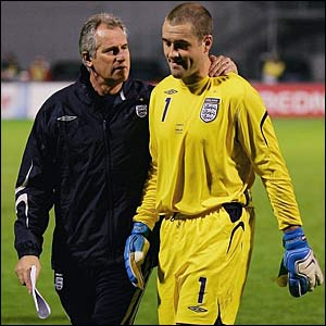 Ray Clemence consoles Paul Robinson