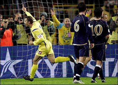 Andriy Shevchenko celebrates after scoring a penalty